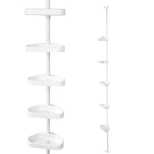 Buy Aquaterior 5 Tier White Plastic Tension Bathroom Corner Shelf Bath Shower Caddy Pole Storage Rack Tower Organizer Basket Online In Turkey B01m59kt3q
