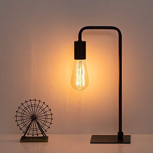 Industrial Desk Lamp Nightstand, Black Square Base Table Lamp