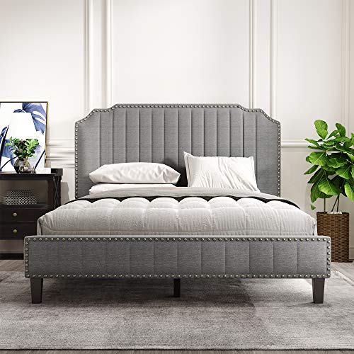 Buy Tmosi Queen Size Upholstered Platform Bed Frames With Headboard Modern Linen Curved Bedroom Furniture With Wood Slat Support No Box Spring Needed Nailhead Trim Grey Online In Turkey B095s6fvd5