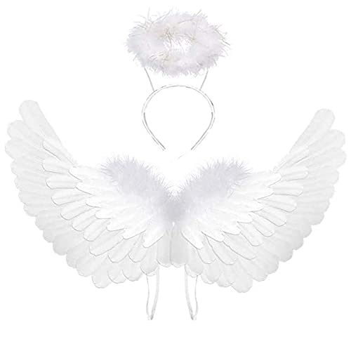Party Angel Wings Fancy Dress up Fairy Feather Costume Outfit Adult Kids Gift