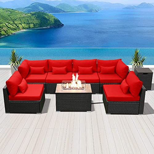 Sunpeak Fire Table Set Sectional, Dineli Patio Furniture Sectional Sofa With Gas Fire Pit Table Ou