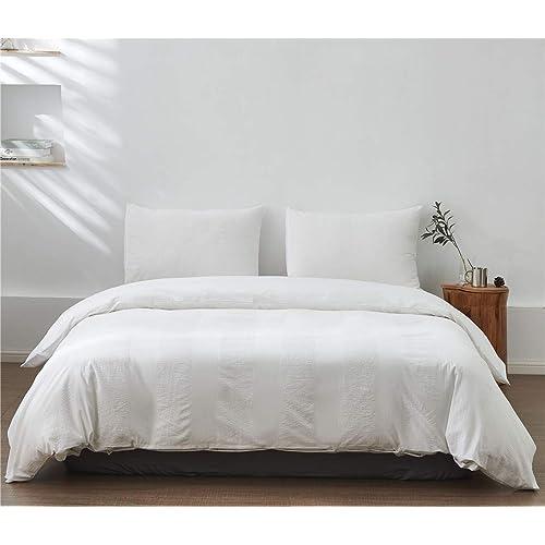 Seersucker Duvet Quilt Cover Pillowcases Egyptian Cotton Bed Linen Bedding Set