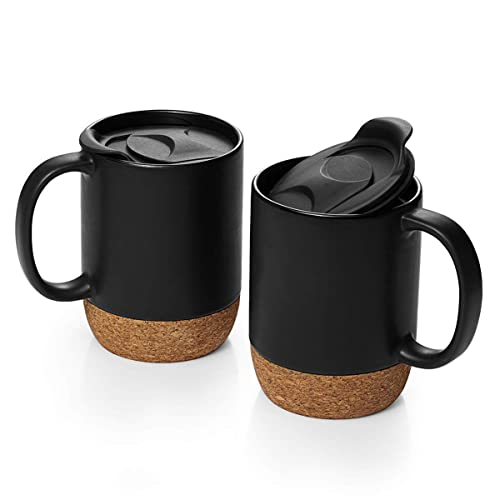 Buy DOWAN Coffee Mugs Set of 2, 15 OZ Ceramic Mug with Insulated Cork Bottom and Splash Proof Lid, Large Coffee Mug with Handle for Men, Women, Matte Grey Online in Turkey. B07MJWF21X