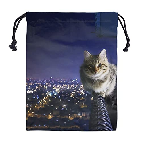 Details about  /Animal Cat Blue Drawstring Backpack School Sport Gym Tote Bag Dust Cover Womens