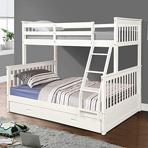 Buy Solid Wood Bunk Beds For Kids Twin Over Full Bunk Bed With Safety Rail Ladder 2 Storage Drawers No Box Spring Needed Easy Assembly Space Saving Design White Online In