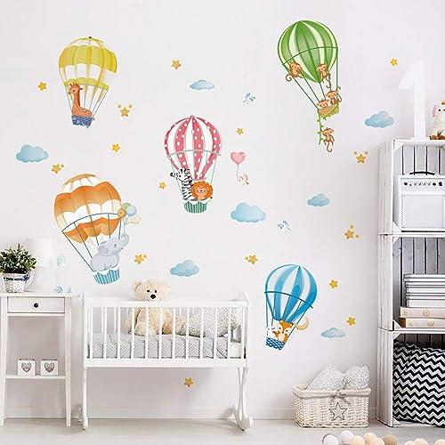 Buy Decalmile Animals In Hot Air Balloons Wall Decals Elephant Giraffe Monkey Wall Stickers Baby Nursery Kids Bedroom Playroom Wall Decor Online In Turkey B08g1h5hmc