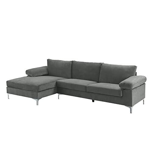 Casa Andrea Milano Llc Modern Large, Large Linen Fabric Sectional Sofa With Left Facing Chaise Lounge