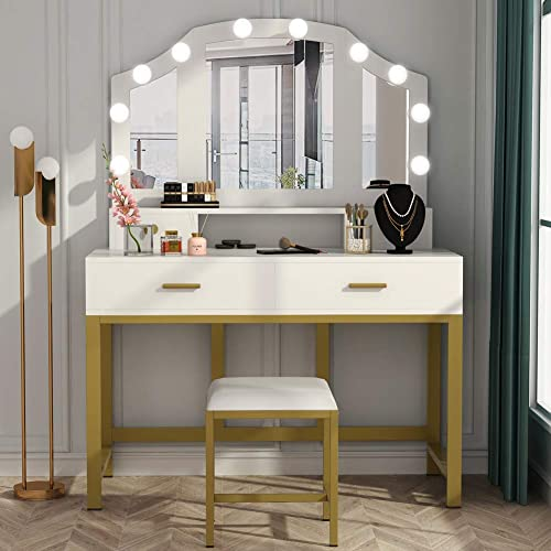 Large Vanity Set With Tri Folding, Led Mirror Dressing Table And Stool