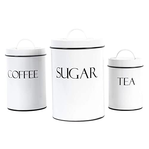 Buy Outshine White Farmhouse Nesting Kitchen Canisters Set Of 3 Kitchen Canister Set Perfect For Coffee Tea Sugar Coffee Bar Accessories Gift For Housewarming Birthday Wedding Bridal Shower Online In Turkey B07y5pb5hl