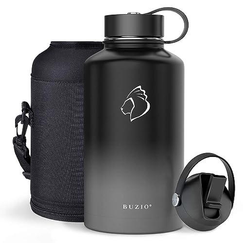 BUZIO Insulated Water Bottle with Straw Lid and Flex Cap 40oz 32oz 64oz 87oz
