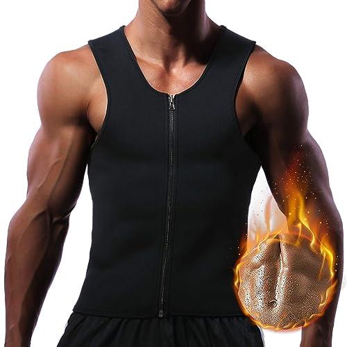 SLIMMING BODY SHAPER MEN NEOPRENE VEST GYM Weight Loss Sweat Suit Sauna Shirt UK
