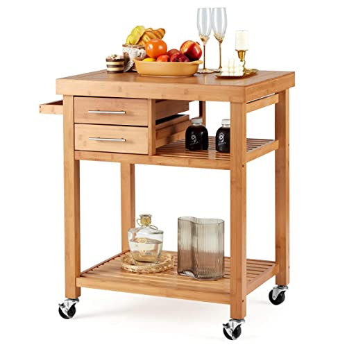 Buy Erommy Rolling Bamboo Wood Kitchen Island Cart Multi Purpose Kitchen Trolley Cart On Wheels Rolling Kitchen Cart With Drawers Open Storage Shelves Towel Rack Locking Casters Online In Turkey B08pbv6h71