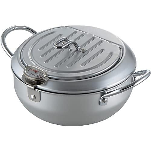 Stainless Steel Fryer Pan Tempura Japanese Style Household Frying Pot with Thermometer Kitchen Deep Fryers Tempura Fryer Pan 85.5in 2.2L,304 stainless steel