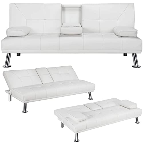 Yaheetech Convertible Sofa Bed, Faux Leather Loveseat Sofa Bed