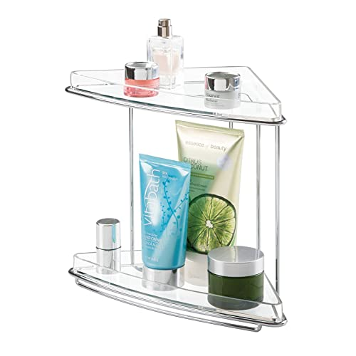 Buy Mdesign Metal 2 Tier Corner Storage Organizing Caddy Stand For Bathroom Vanity Countertops Shelving Or Under Sink Free Standing 2 Plastic Shelves Clear Chrome Online In Turkey B077ndzy6x
