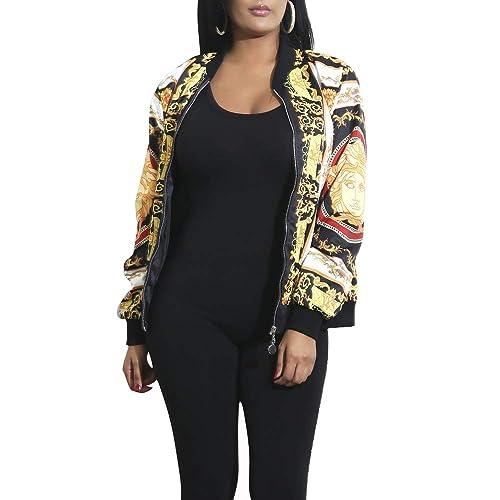 Women/'s Baseball Coat Leather Jacket Long Sleeve Casual Zipper Bomber Outwear