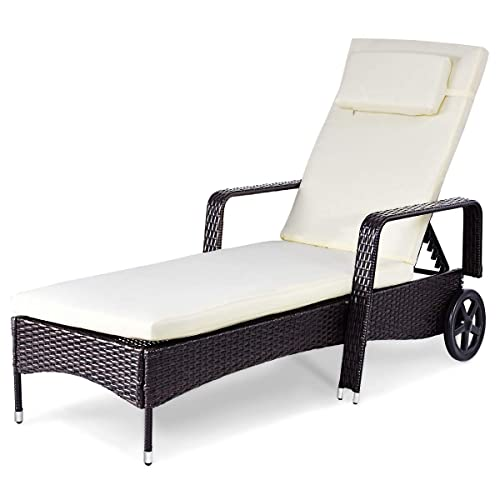 Casart Outdoor Rattan Recliner, Pool Chaise Lounge Chairs With Wheels