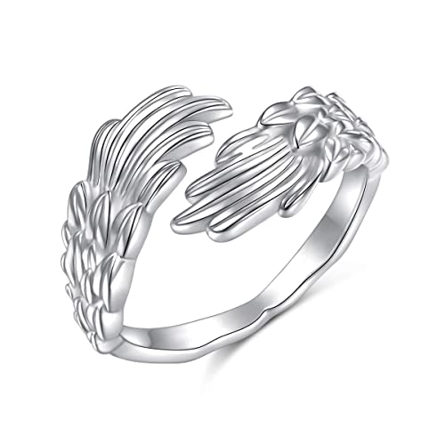 Adjustable Open Ring Thumb Women Heart Angel Wing 925 Sterling Silver Plate G1C9
