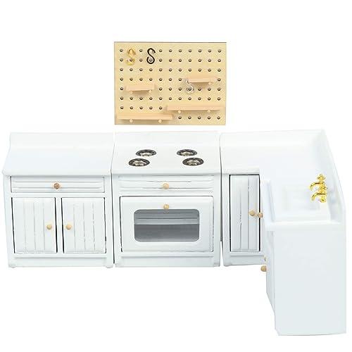 1:12 Dollhouse Miniatures Kitchen Furniture Set Cabinet Refrigerator Decor