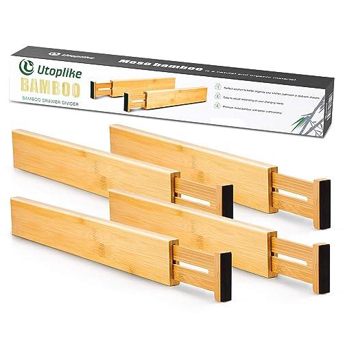 Buy Utoplike Bamboo Kitchen Drawer Dividers 42 7 55 4 Cm Adjustable Drawer Organisers Spring Loaded Kitchen Utensil Drawer Organiser Drawer Divider 4 Pack Clothes Bathroom Baby Drawer Online In Turkey B07hqmz7hh