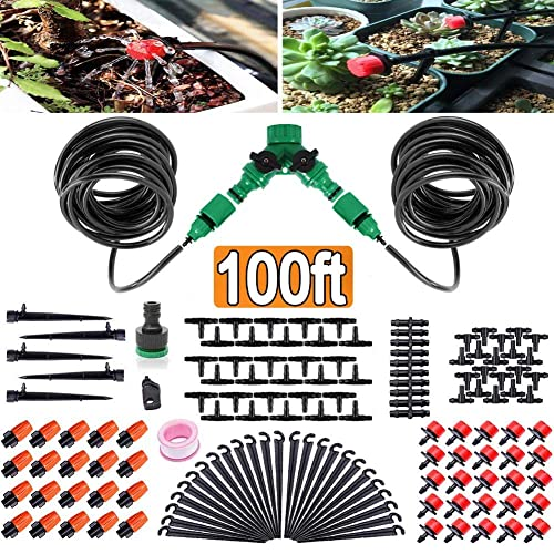 100ft 30M Auto Drip Irrigation System Kit Timer Micro Sprinkler Garden Watering