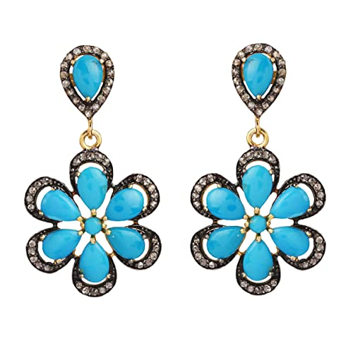 ROSE GOLD PLATED 925K STERLING SILVER TURQUOISE DROP HANDMADE EARRINGS