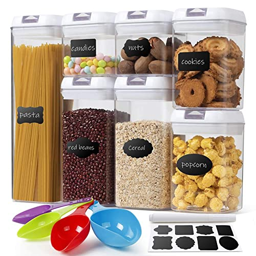 7 Pcs Food Storage Container BPA Free Plastic Cereal Kitchen Pantry Organization