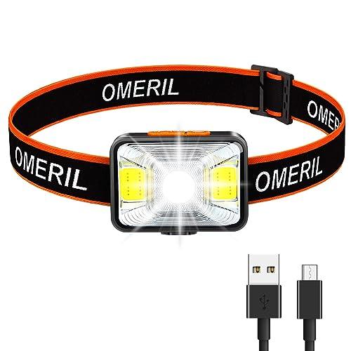 Linkax LED Headlamp Headlight USB Rechargeable LED Head Torch 3 Modes Helmet for
