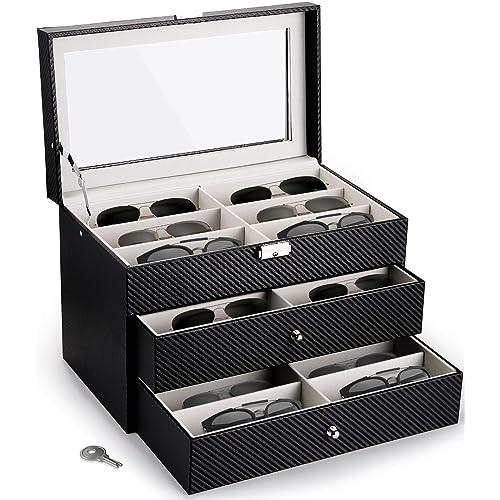 Nicunom 18 Slots Sunglasses, Sunglasses Storage Case
