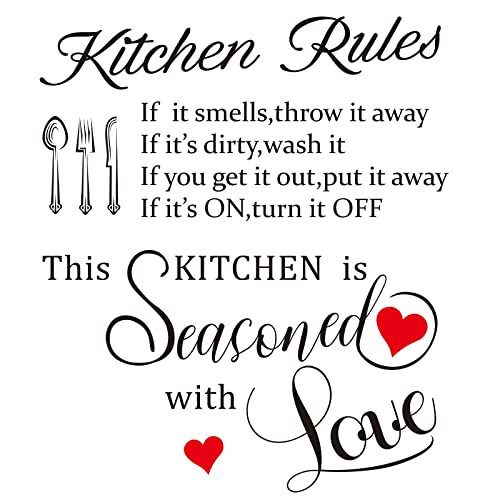 Buy 2 Pieces Kitchen Quotes Wall Decal Kitchen Rules Art Home Mural Decor Home Vinyl Inspirational Quotes Decal Sticker For Kitchen Dining Room Fridge Restaurant Decor Online In Turkey B0936hhy57