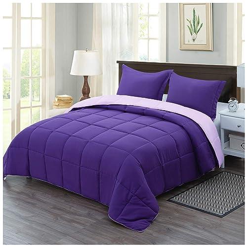 Homelike Moment Lightweight, Light Purple Queen Bed Set