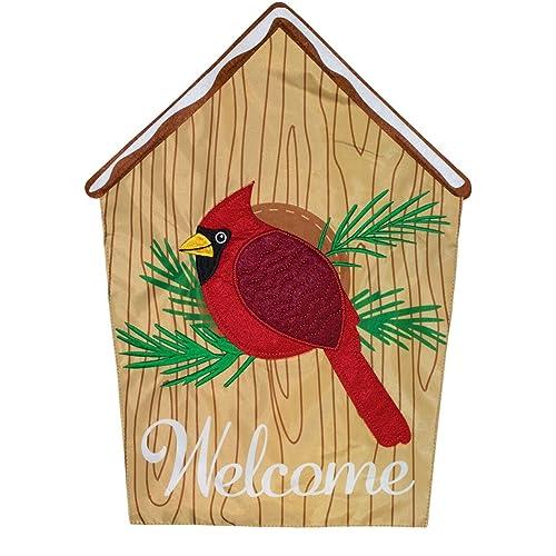 """Cardinal Winter Burlap Garden Flag Welcome Bird 12.5/"""" x 18/"""" Briarwood Lane"""