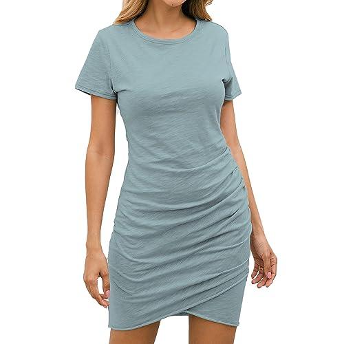 Buy BTFBM Women's 2021 Casual Crew Neck Short Sleeve Ruched Stretchy Bodycon T Shirt Short Mini Dress Online in Turkey. B07MGR29GC