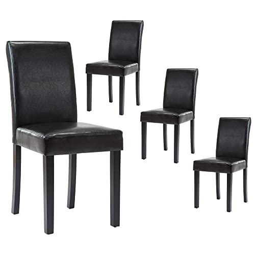 Lssbought Set Of 4 Urban Style, Black Wooden Dining Chairs Set Of 4