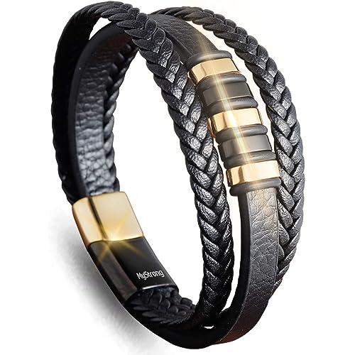 S367 Surfer Men/'s Vintage Metal Clasp Leather Bracelet Wristband Cuff BROWN