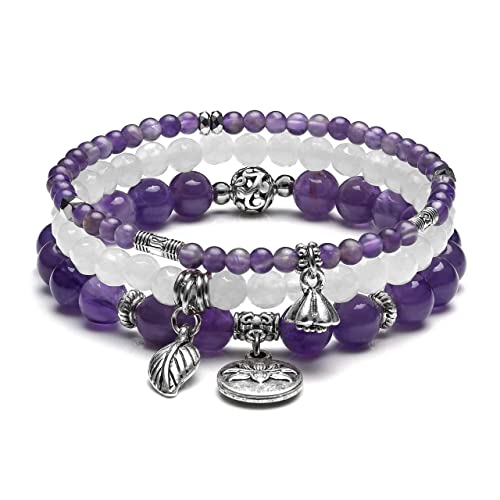 Reiki Pink Rose Quartz Natural Stone Beads Bracelet Crystal Stretchy Adjustable