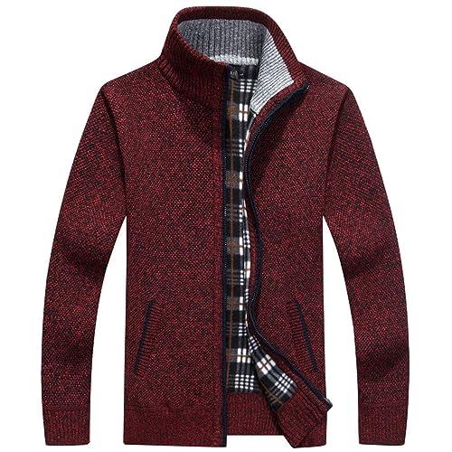 Mens Winter Loose Plaid Sweater Long Sleeve Knit Cardigan Windbreaker Jacket