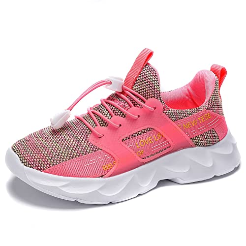 Kids Running Trainers Boys Girls School Walking Breathable Casual Sneakers Pink