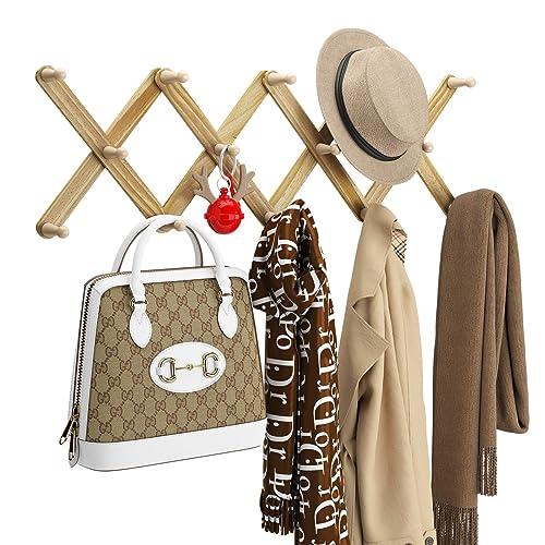 14 Pegs Wooden Coat Hooks, Accordion Style Wall Coat Rack