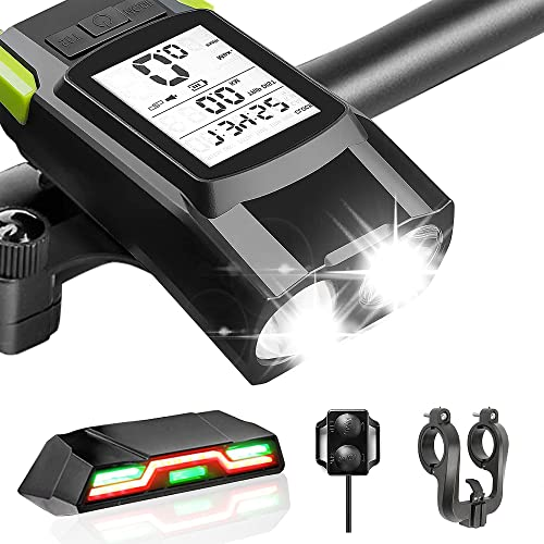 Rechargeable Bike Lights,Bike Light Set with Bicycle Speedometer Odometer Horn