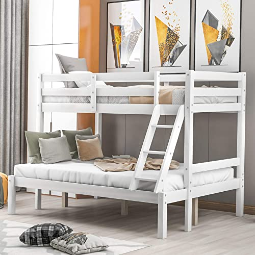 Buy P Purlove Twin Over Full Bunk Bed Bunk Bed Frame With Ladder Wood Slat Support No Box Spring Needed White Online In Turkey B089t7q177