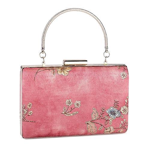Ladies Floral Leather Look Clutch Bag Flowers Handbag Frame Pastel Evening Prom