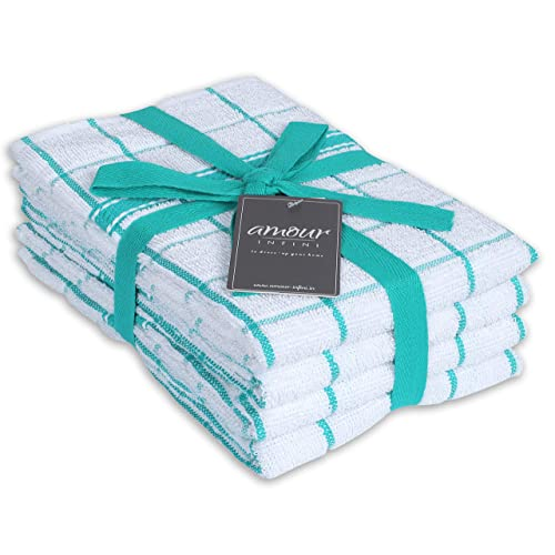 Buy Amour Infini Terry Kitchen Towels Set Of 4 18 X 28 Inches Ultra Soft And Absorbent 100 Cotton Dish Towels With Hanging Loop Perfect For Household And Commercial Uses Teal Online In Turkey B08b3ty1b7