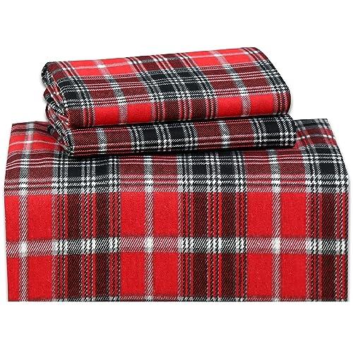 Ruvanti 100 Cotton 4 Piece Flannel Sheets Queen Deep Pocket Warm Super Soft Breathable Flannel