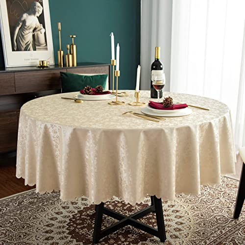Hosonson Vinyl Pu Round Table Cloth, Tablecloths For 60 Inch Round Tables