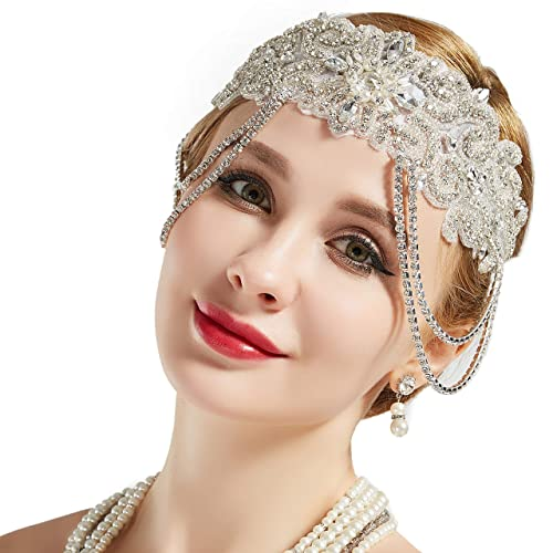 1920s Headband Feather Bridal Great  Flapper Headpiece Costume Accessories