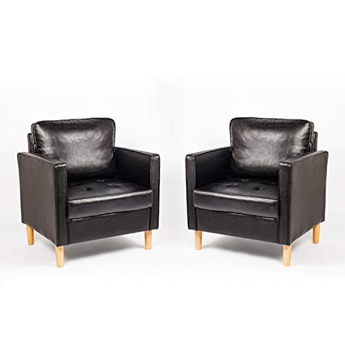 2 Faux Leather Accent Chair, Small Modern Armchair