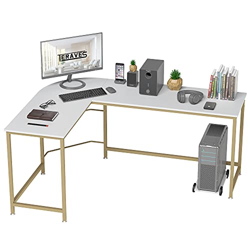 Teraves Reversible L Shaped Desk, Round Computer Table