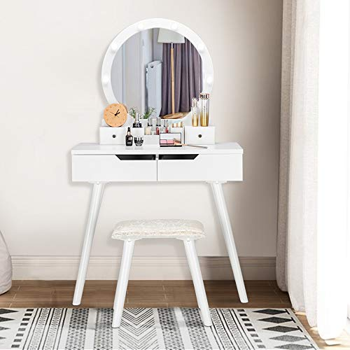 Bonnlo Lighted Makeup Vanity Set, Led Mirror Dressing Table And Stool
