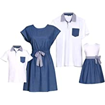 80230aaea PopReal Short Sleeve Cotton T-Shirt and Bowknot Dress Family Matching  Outfits
